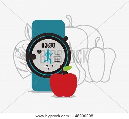 healthy food ingredients with heartrate wrist monitor icons image  vector illustration