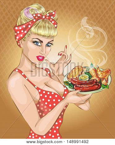 Pop Art woman with foog plate. Pin-up girl BBQ sausage. Fashion sexy wife hand drawn vector illustration Background