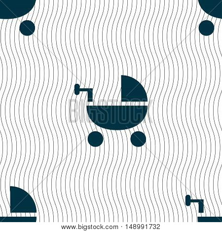 Baby Stroller Icon Sign. Seamless Pattern With Geometric Texture. Vector