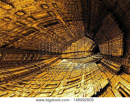 Abstract tech style background - computer-generated fractal. 3D rendering illustration: dark cavern or tunnel with textured walls. Technology background or creative concept.
