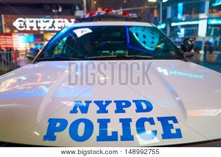 NEW YORK - CIRCA MARCH, 2016: close up shot of a New York City Police Department car. NYPD is the largest municipal police force in the United States.