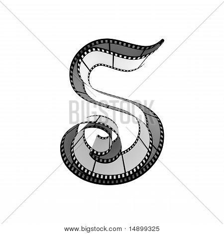 Filmstrip font. Front view. Letter s