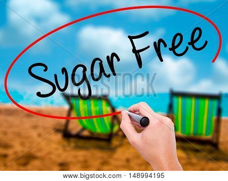 Man Hand Writing Sugar Free With Black Marker On Visual Screen