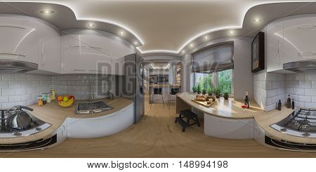 3d illustration spherical 360 degrees seamless panorama of living room interior design. Modern studio apartment in the Scandinavian minimalist style