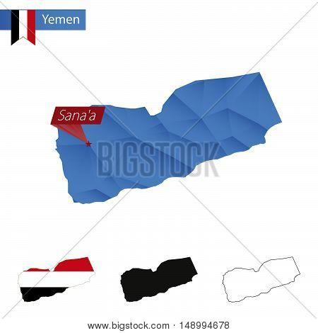 Yemen Blue Low Poly Map With Capital Sanaa.