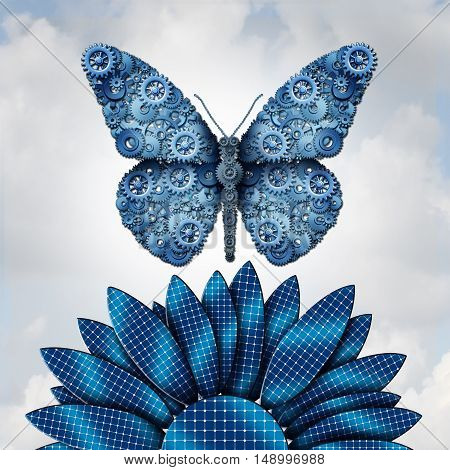 Solar energy industry and alternative fuel from the sun as a butterfly shaped with machine gears flyinfg over a flower made of solar panel cells as a clean energy symbol for renewable sustainable electricity with 3D illustration elements.