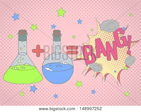 Colorful Vector Background With Chemical Glassware In Hand Drawn Style. Colorful  Background With Ma