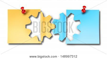 Office work cooperation business connection symbol as two paper notes with a thumbtack shaped as a cutout gear linked together as a concept for corporate relationship or working meeting reminder.