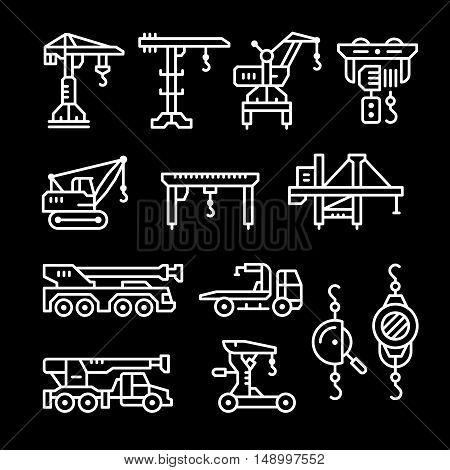 Set line icons of crane, lifts, winches isolated on black. Vector illustration