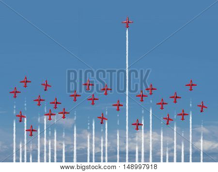 Full steam ahead business concept as a group of air show jet airplanes with most of the aircraft losing energy and losing intensity while one energetic winning individual is full of power with 3D illustration elements.