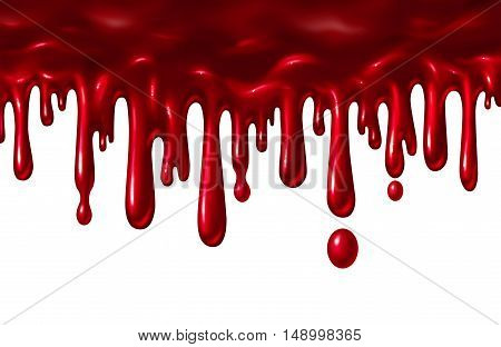 Blood liquid dripping down as a red splatter with drops falling down as a halloween element or symbol of violence and terror isolated on a white background in a 3D illustration style.
