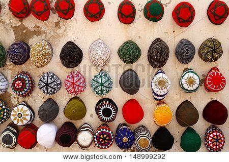 Hanging Hats on the Wall, Essaouira Morocco