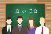 iq or eq intellectual or vs emotional question compare write on the board in front of business man and business woman vector poster