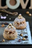 Choux Paris-Brest choux pastry with cream muslin and hazelnuts poster