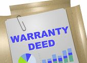 "3D illustration of ""WARRANTY DEED"" title on business document poster"