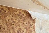 Ragged wallpaper in the room during overhaul poster