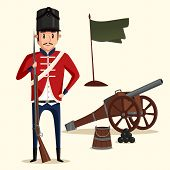 French army soldier with musket near pyramid of cannonballs and flag in ground. Warrior in uniform with rifle. Perfect fit for historical book illustration, revolution and independence theme poster