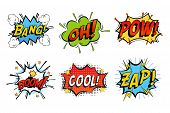 Emotions for comics speech like bang and cool, oh or ooh. Onomatopoeia clouds for explosions like boom, punches - pow, cool with stars and zap with lightning. For cartoons and speak dialogs poster