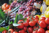 fresh healthy organic food  fruits and vegetables at market poster