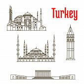 Historic landmarks, sightseeings, famous showplaces of Turkey. Vector thin line icons of Hagia Sophia, Galata Tower, Sultan Ahmed Mosque, Anitkabir for souvenir decoration elements poster