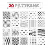 Ornament patterns, diagonal stripes and stars. Export file icons. Convert DOC to PDF, XML to PDF symbols. XLS to PDF with arrow sign. Geometric textures. Vector poster