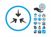 Impact Arrows icon with bonus elements. Vector illustration style is flat iconic bicolor symbols, blue and gray colors, white background. poster