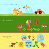 Pesticides and fertilizers horizontal banners set with pest control symbols flat isolated vector illustration poster