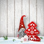 Nisser in Norway and Denmark, Tomtar in Sweden or Tonttu in Finnish, Scandinavian folklore elves, nordic christmas motive, Tomte standing in front of gray wooden wall in snow, with decorated heart and tree, vector illustration, eps 10 with transparency poster