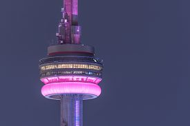 TORONTO - September 7th, 2016: Close up of CN Tower on a hot and hazy humid summer night, September 2016, Toronto, Canada.