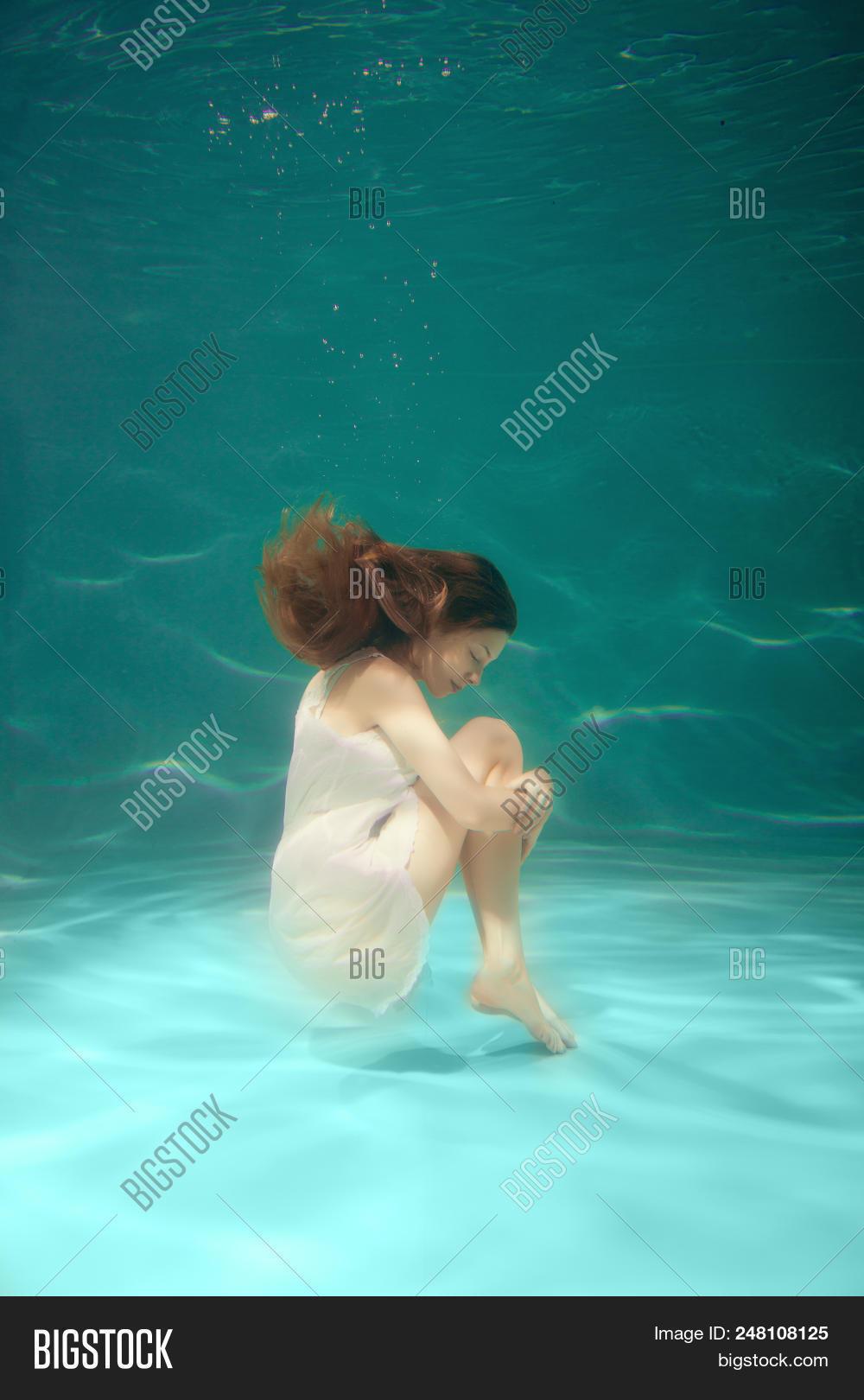 Underwater Scene. Girl Image \u0026 Photo (Free Trial)