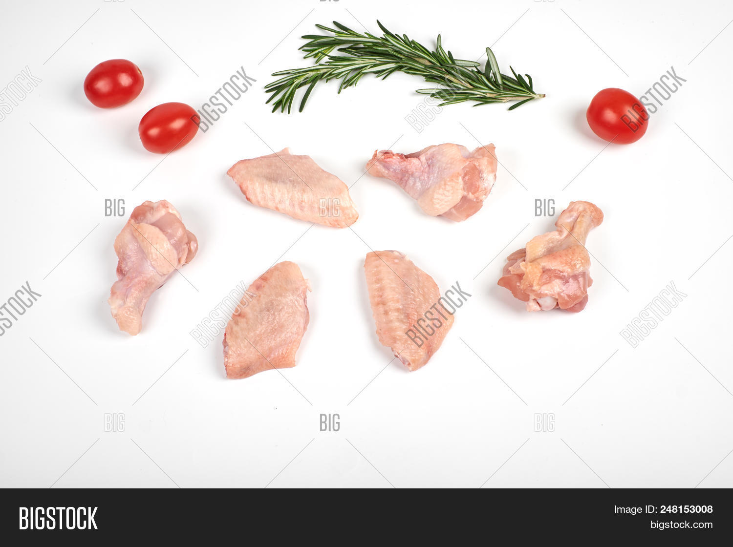 Raw Chicken Wings Image Photo Free Trial Bigstock Diagram Of The Wing A Top View Tomatoes And Rosemary Isolated On White Background