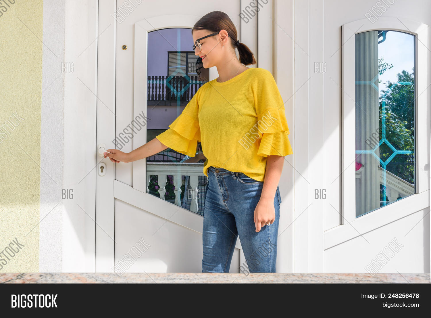 Front Door Pvc Girl Image Photo Free Trial Bigstock