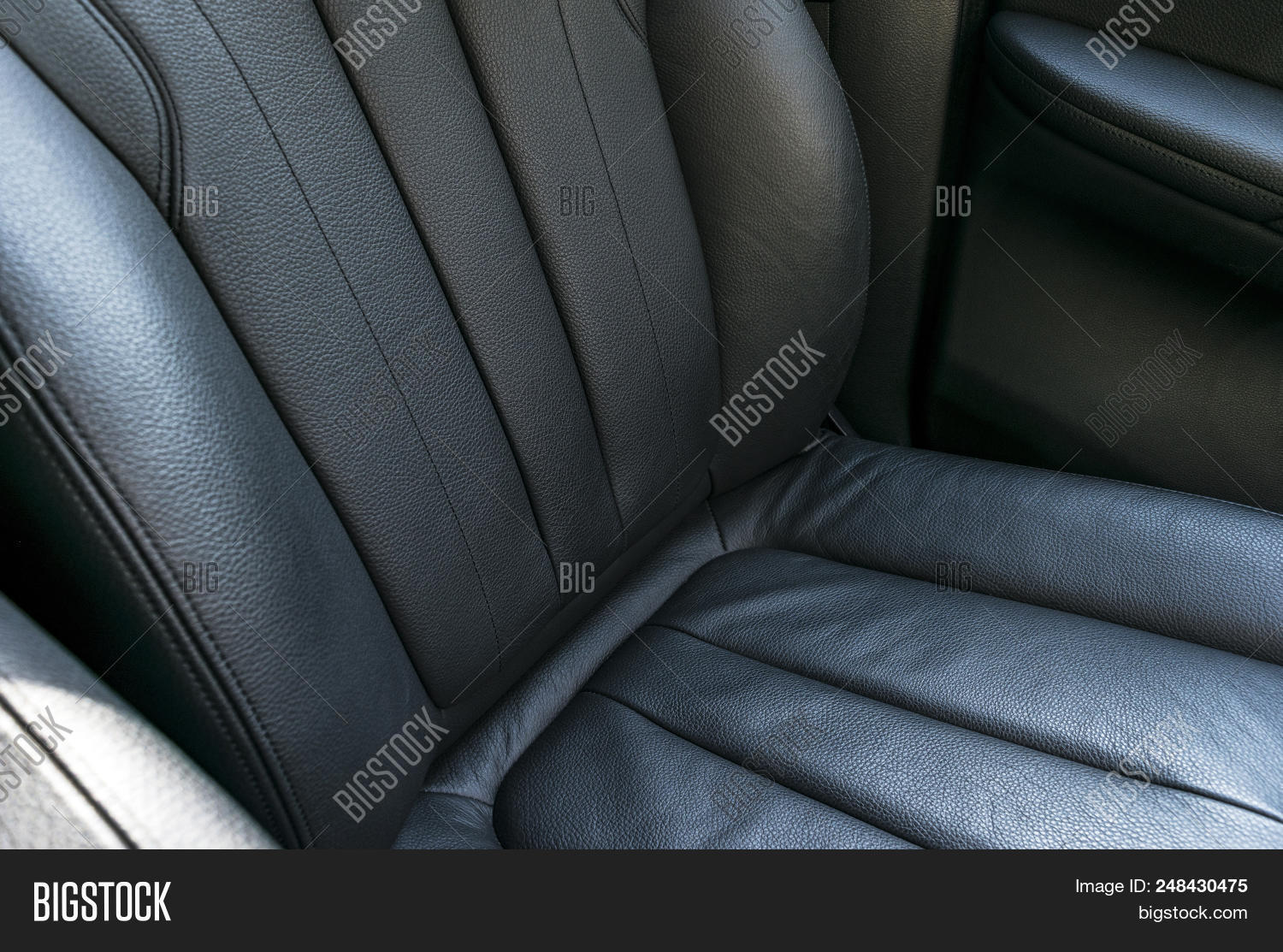 Modern Luxury Car Black Perforated Leather Interior Part Of Seat Details Detailing Door Handle Inside