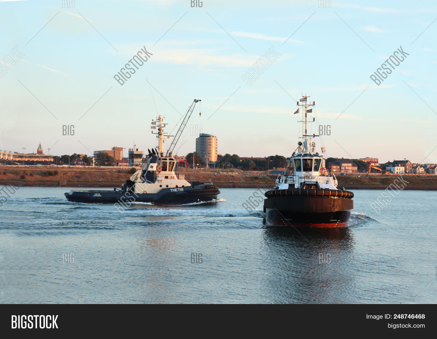 Ijmuiden, The Netherlands - July 5th 2018  Tugboats Leaving Ijmuiden Sea  Lock Towards North 8f9a12a8fc