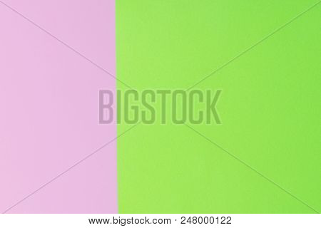 Soft Pink And Green Paper As Texture Background. Flat Lay. Minimal Concept. Creative Concept. Pop Ar