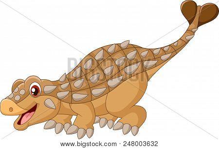 Cartoon Happy Ankylosaurus Isolated On White Background