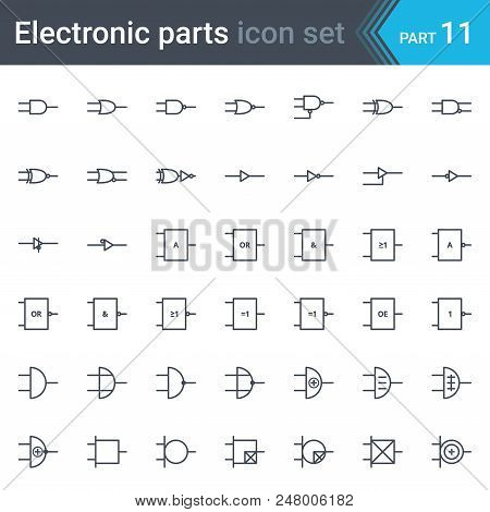 Electric And Electronic Icons, Electric Diagram Symbols. Digital Electronics, Logic Gate (ansi Syste