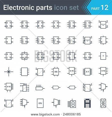 Electric And Electronic Icons, Electric Diagram Symbols. Digital Electronics, Flip-flop, Logic Circu