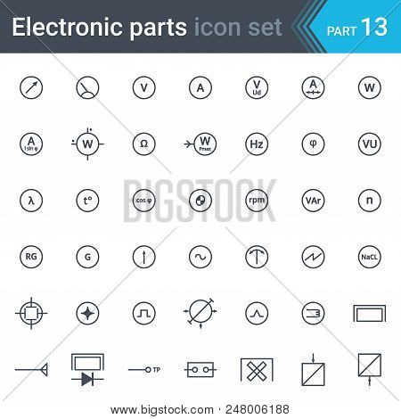 Electric And Electronic Icons, Electric Diagram Symbols. Electrical Instrumentation, Meters And Reco