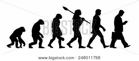 Theory Of Evolution Of Man Silhouette. Human Development From Monkey To Modern Businessmen With Brie