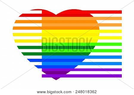 Colorful Rainbow Striped Heart On White (transparent) Background, Colors Of Lgbt Pride Flag, Symbol
