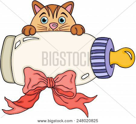 Scalable Vectorial Representing A Cute Cat With Baby Milk Bottle, Element For Design, Illustration I
