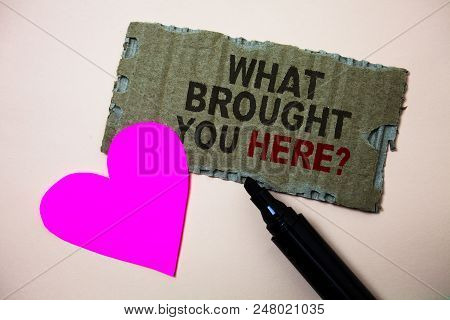 Text Sign Showing What Brought You Here Question. Conceptual Photo Ambition Can Be Obtain By Determi