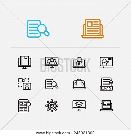 Webinar Icons Set. Webinar Online And Webinar Icons With Education E-learning, Business E-learning A