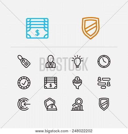 Trade Icons Set. Reliable Value And Trade Icons With Core Values, Proactive And Business Person. Set