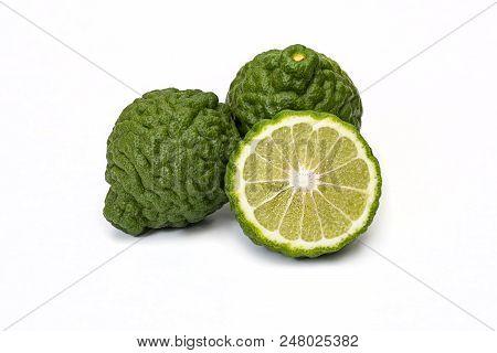 Citrus Hystrix, Bergamot Fruit On White Background
