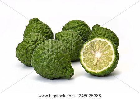 Kaffir Limes, Bergamot Fruit On White Background