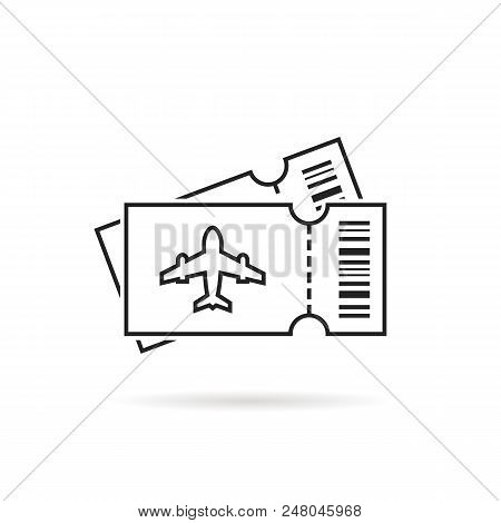 Thin Air Line Ticket Logo With Shadow. Concept Of Lowcost Card For Flight Or Transport Admission Sym