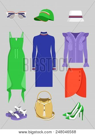 Summer Mode Set Of Clothes And Vogue Accessories, Vector Illustration Various Shoes And Dresses Mode
