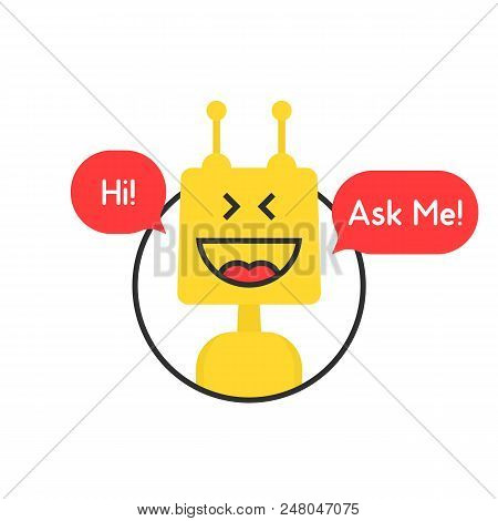 Online Chatbot Like Tech Or Financial Advisor. Simple Flat Trend Symbol Or Modern Logotype Graphic D
